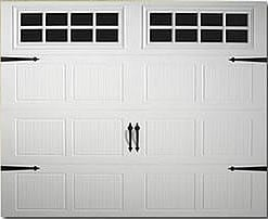 carriage house style garage door with raised panels