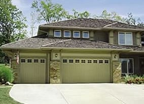 residential metal garage door with windows