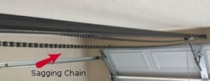 Sagging chain on garage door opener
