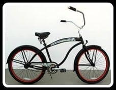 Black bike with red rims