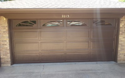 Garage Door Services; New Brown Ranch Style Garage Door With Colonial  Inserts