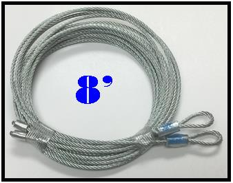 8 foot torsion spring cables