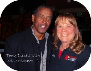 Kris with Tony Dorsett former Dallas Cowboy Player #33