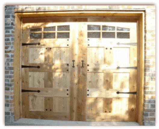 8 x 7 custom wood door hardware with windows and hardware1