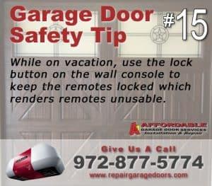 Garage Safety Tip 15 - vacation Lock